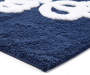 Just Breathe Navy Blue and White Cotton Bath Rug Silo Image Corner Angled View