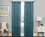 Karsyn Peacock Blue Geo Lines Blackout Single Curtain Panel 84 inch lifestyle