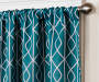 Karsyn Peacock Blue Geo Lines Blackout Single Curtain Panel 95 inch lifestyle