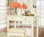 Kate White Angled Mirror Vanity Set with Stool lifestyle
