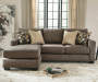Keenum Taupe Sofa and Chaise Front View with Decor Pillows Room View