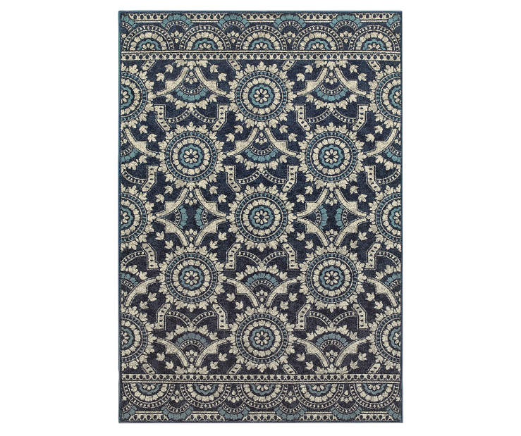 Keller Navy Area Rug 5FT3IN x 7FT6IN Silo Image