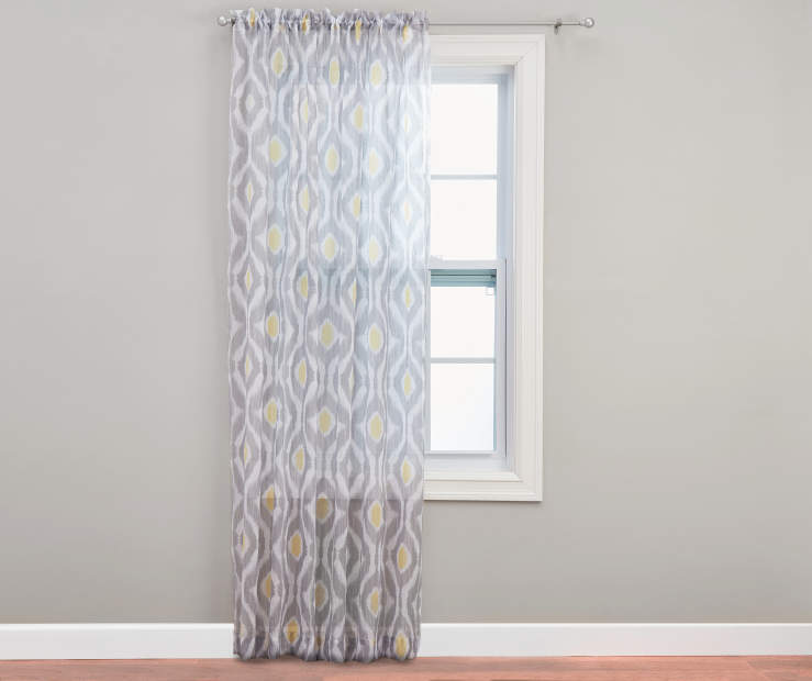 Kenza Crushed Voile Sheer Curtain Panel 84 inches Gray Wall On Window