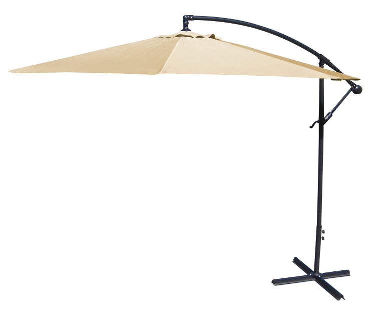 Khaki Offset Patio Umbrella 10 Feet with Hand Crank Side View Silo Image