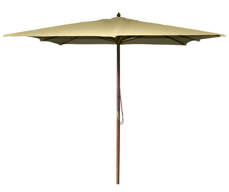 Khaki Square Wood Market Patio Umbrella 8.5 Feet with Pull String Front View Silo Image
