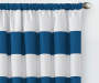 Kids Bridgewater Blue Stripe Blackout Single Curtain Panel 84 inches Detail Lifestyle