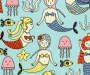 Kids Mermaid Party Blackout Single Curtain Panel 63 inches Swatch