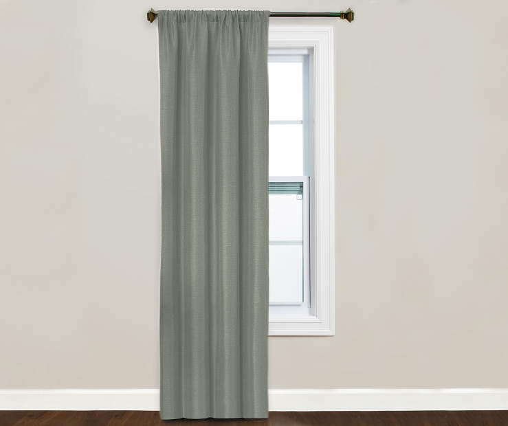 Kiera Silver Blackout Curtain Panel Window Image