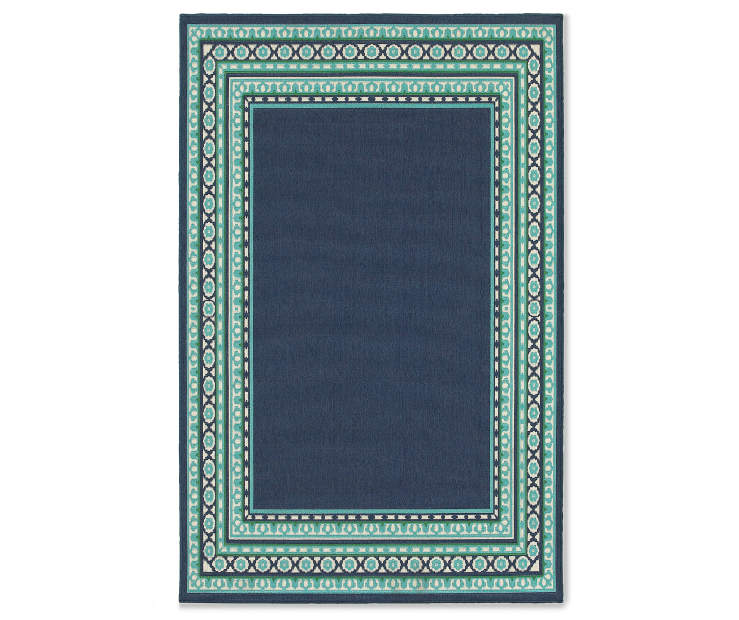 Kimbell Navy Blue Indoor Outdoor Area Rug 5 feet 3 inch x 7 feet 6 inch silo front