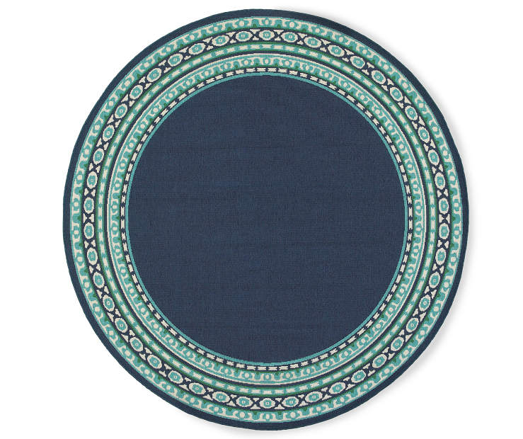 Kimbell Navy Blue Round Indoor Outdoor Area Rug 7 feet 10 inch silo front