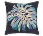 Kolea Navy Blue Leaf Outdoor Throw Pillow 17 inches by 17 inches Silo Image Front View