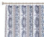 Kyle Blue and Gray Fabric Shower Curtain with Rod and Hooks Silo