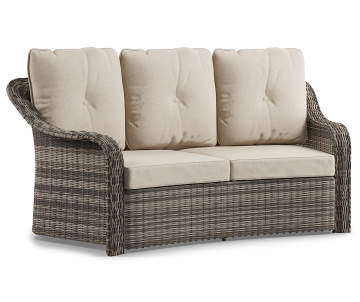 Wilson Fisher Lakewood All Weather Wicker Curved 2 Seat Cushioned Patio Sofa Se