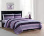 Deals on Living Colors Purple Moroccan Stripe 3-Piece Velvet Quilt Set