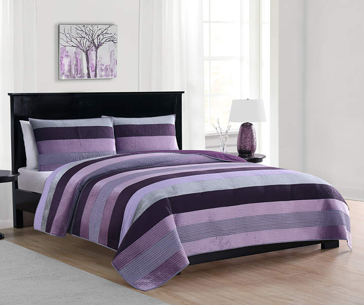LC 3PC VELVET QUILT KING PURPLE MOROCCAN