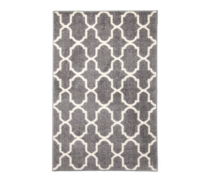 LC ACCENT RUG GREY TEXTURED LATTICE 30X46