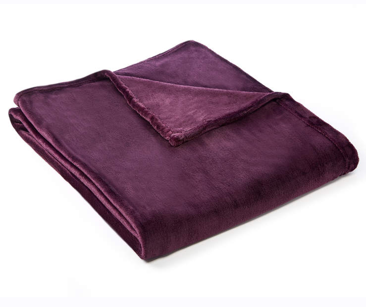 LC VELVET PLUSH THROW PLUM