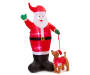 LED Inflatable Santa with Puppy 8 Feet High with lights and santa suit front view silo image