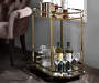 Lacole Champagne and Mirror Serving Cart Lifestyle