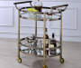 Lakelyn Brushed Bronze & Mirror Serving Cart Lifestyle