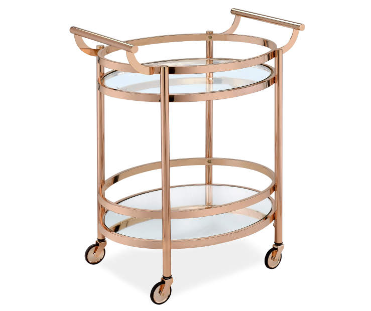 Lakelyn Rose Gold and Mirror Serving Cart Silo Angled