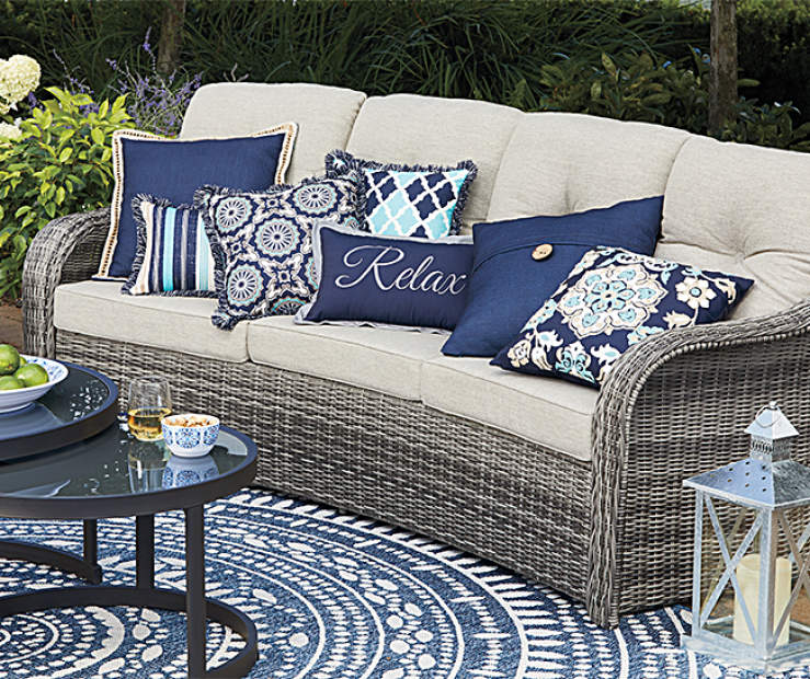 Lakewood Navy Blue Outdoor Throw Pillows | Big Lots