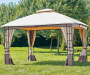 Lakewood Soft Top Domed Gazebo 10 feet by 12 feet Lifestyle Angled View