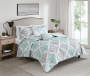 Lana Aqua and Gray Leaves Full Queen 5 Piece Quilt Set lifestyle bedroom