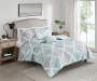 Lana Aqua and Gray Leaves King 5 Piece Reversible Quilt Set lifestyle