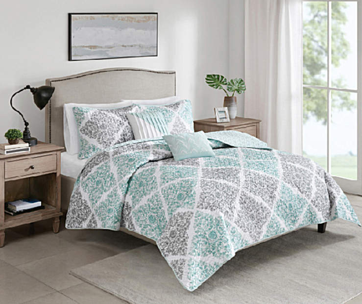 Lana Aqua and Gray Twin 4 Piece Quilt Set lifestyle