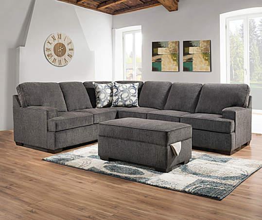 Kasan Gray Sectional, Gray Living Room Furniture