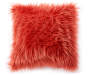 Lantana Pink Faux Fur Throw Pillow 18 inch x 18 inch silo front