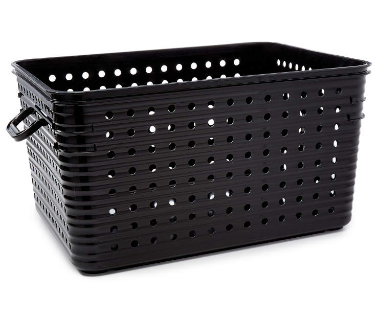 Large Black Dot Basket  silo front