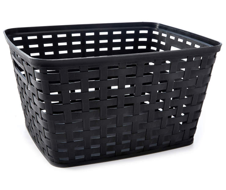 Large Black Weave Basket silo front
