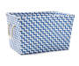 Large Blue and White Zig Zag Strap Bin silo front