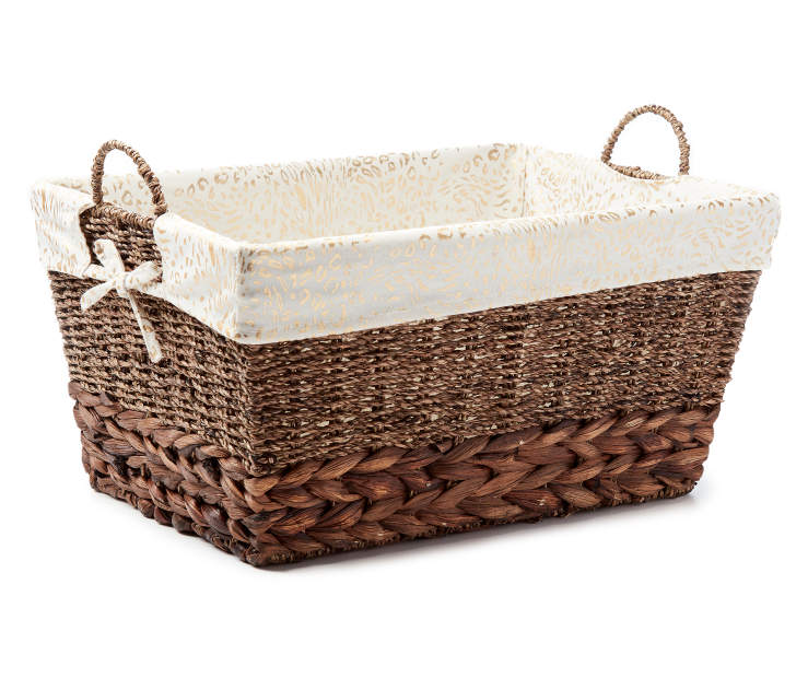 Large Brown Water Hyacinth Bin with Cheetah Print Liner silo front