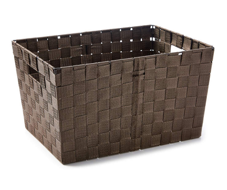Large Brown Woven Strap Bin silo front