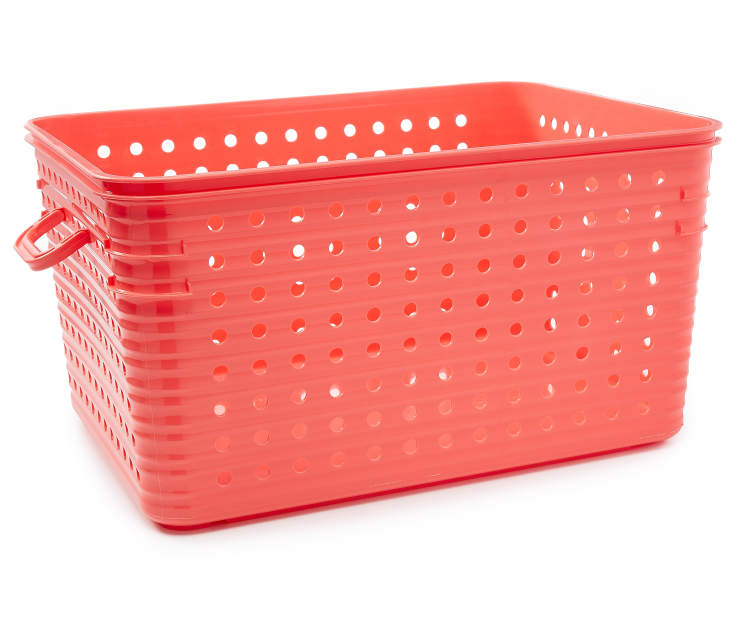 Large Coral Dot Basket silo side view