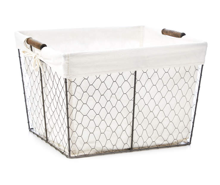 Large Gray Graphite Chicken Wire Storage Bin with Fabric Liner silo front