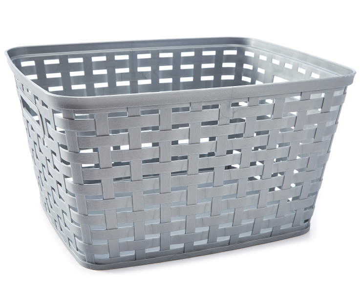 Large Gray Weave Basket silo front