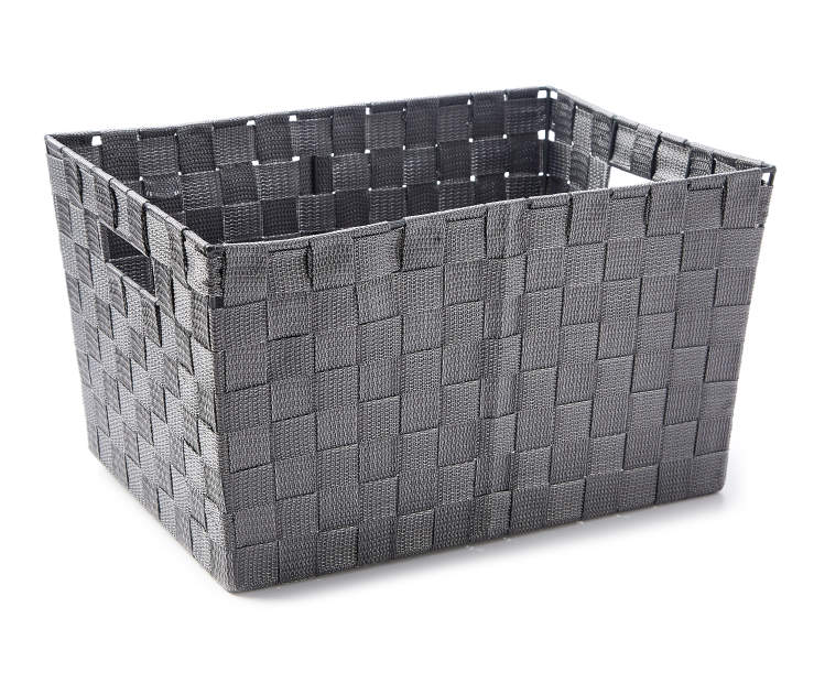 Large Gray Woven Strap Bin silo angled