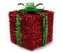 Large Red Tinsel Gift Box With Green Bow Details Anged View Silo Image