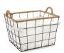 Large Rope Trim Grid Wire Bin with Linen Liner silo angled