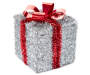 Large Silver Tinsel Gift Box with Red Bow Details Angled View Silo Image