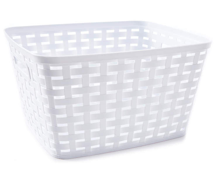 Large White Weave Basket silo side view