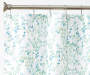 Lauren Floral Green and Blue PEVA Shower Curtain and Hooks Set Silo Image Pattern Detail