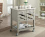 Laurie Gray Steel Top Kitchen Cart with Drawers lifestyle