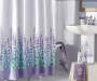 Lavender Fields Fabric Shower Curtain & Hooks Set Lifestyle Image Bottom of Curtain