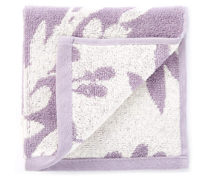 Lavender Flowers Double Jacquard Wash Cloth silo front