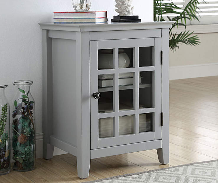 Layla Gray Windowpane Single Door Cabinet lifestyle